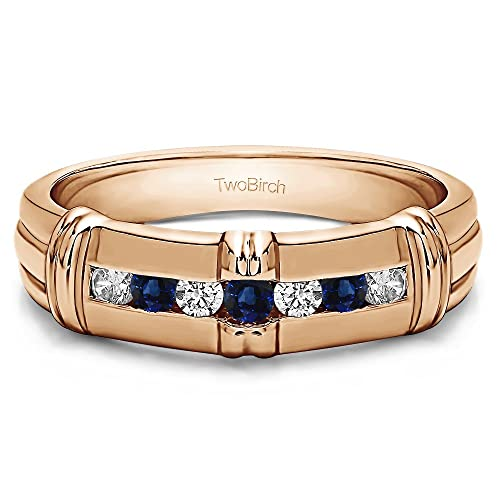 Oro rosa plateado anillos de boda para hombre diamantes y zafiro (0.315ct) tamaño 3 a intervalos de 15 en 1/4 tamaño: TwoBirch: Amazon.es: Joyería