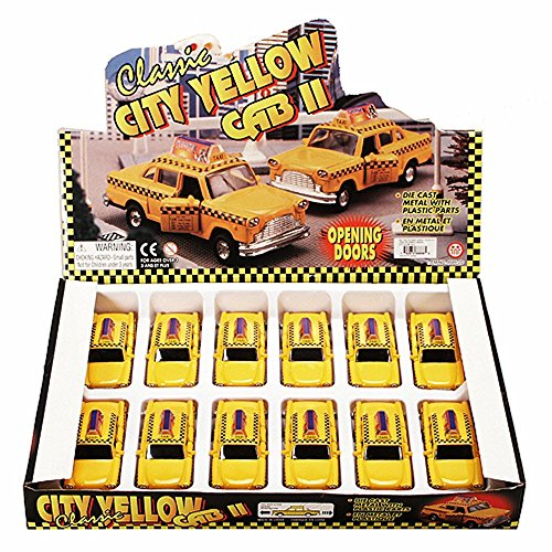 Box of 12 Diecast Model Cars - Yellow City Taxi Cab, Yellow, 4.5 Inch Scale