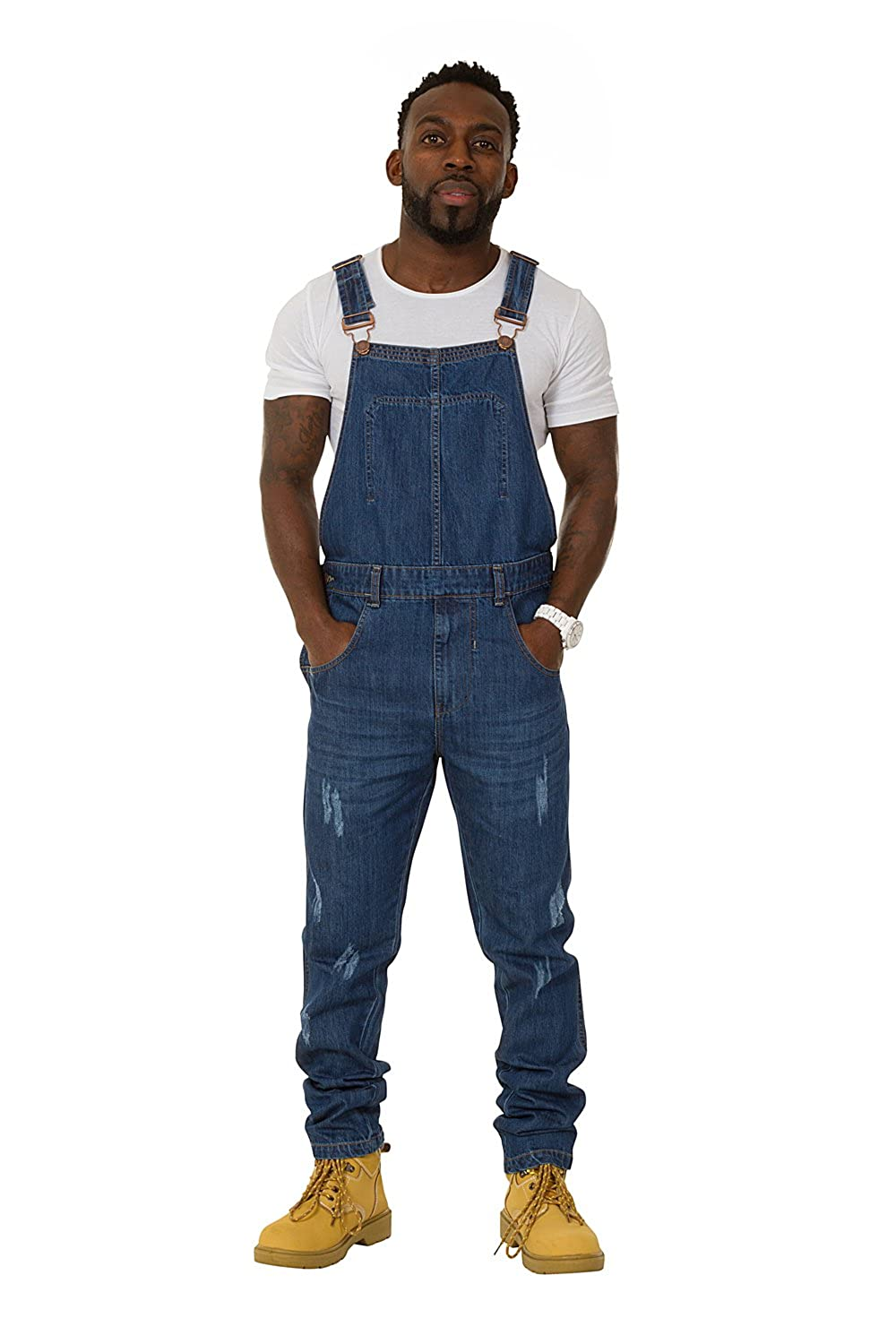 1f2afb098d8a Uskees Keith Regular Fit Men s Dungarees – Darkwash Distressed Denim  Overalls KEITHDW