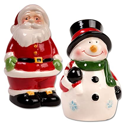 santa and snowman christmas salt and pepper shaker set 4 inch - Christmas Salt And Pepper Shakers