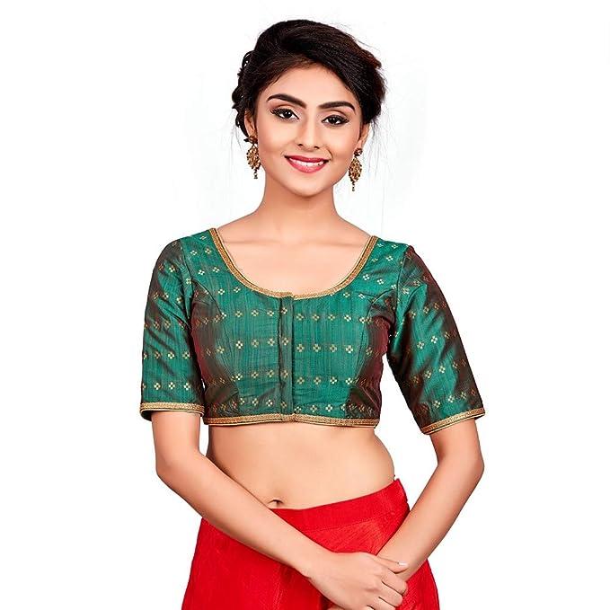 5480660c2f521 Salwar Studio Women s Bottle Green Dupion Silk Readymade Padded Saree Blouse(SSB1971-BOGR Size-32-42)   Amazon.in  Clothing   Accessories