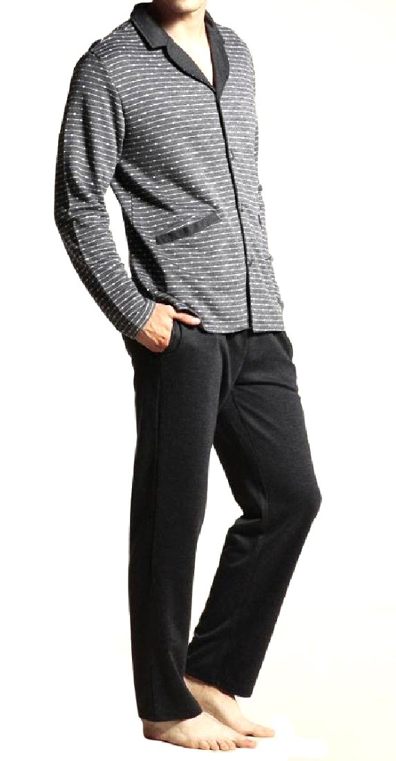 Sheng Xi Men's Fine Cotton Basic Style Breathable Shirt/Pants PJ Set 4 L by Sheng XiMen (Image #1)