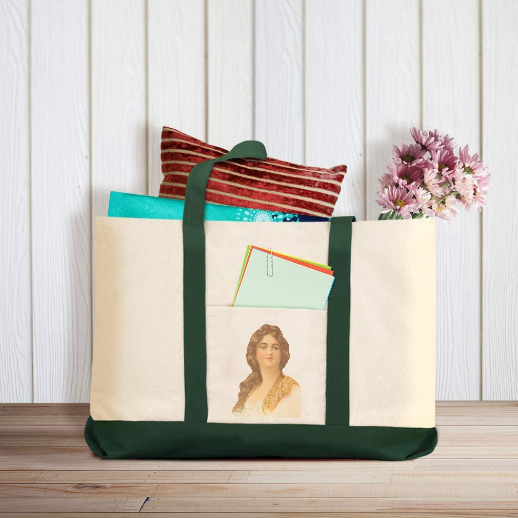 Canvas Shopping Tote Bag Woman with Dark Hear Vintage Look Woman with Long Hair Beach Bags for Women