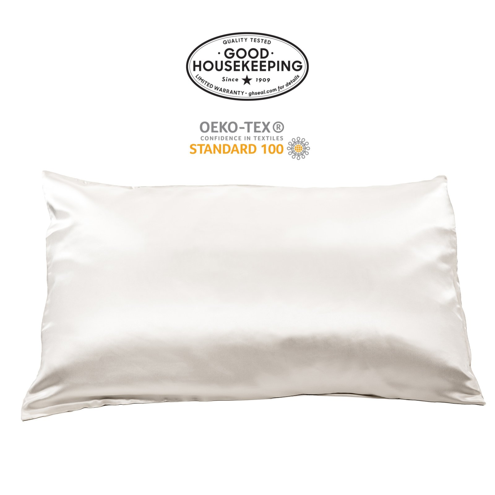 Fishers Finery 19mm Mulberry Silk King Pillowcase, Natural White