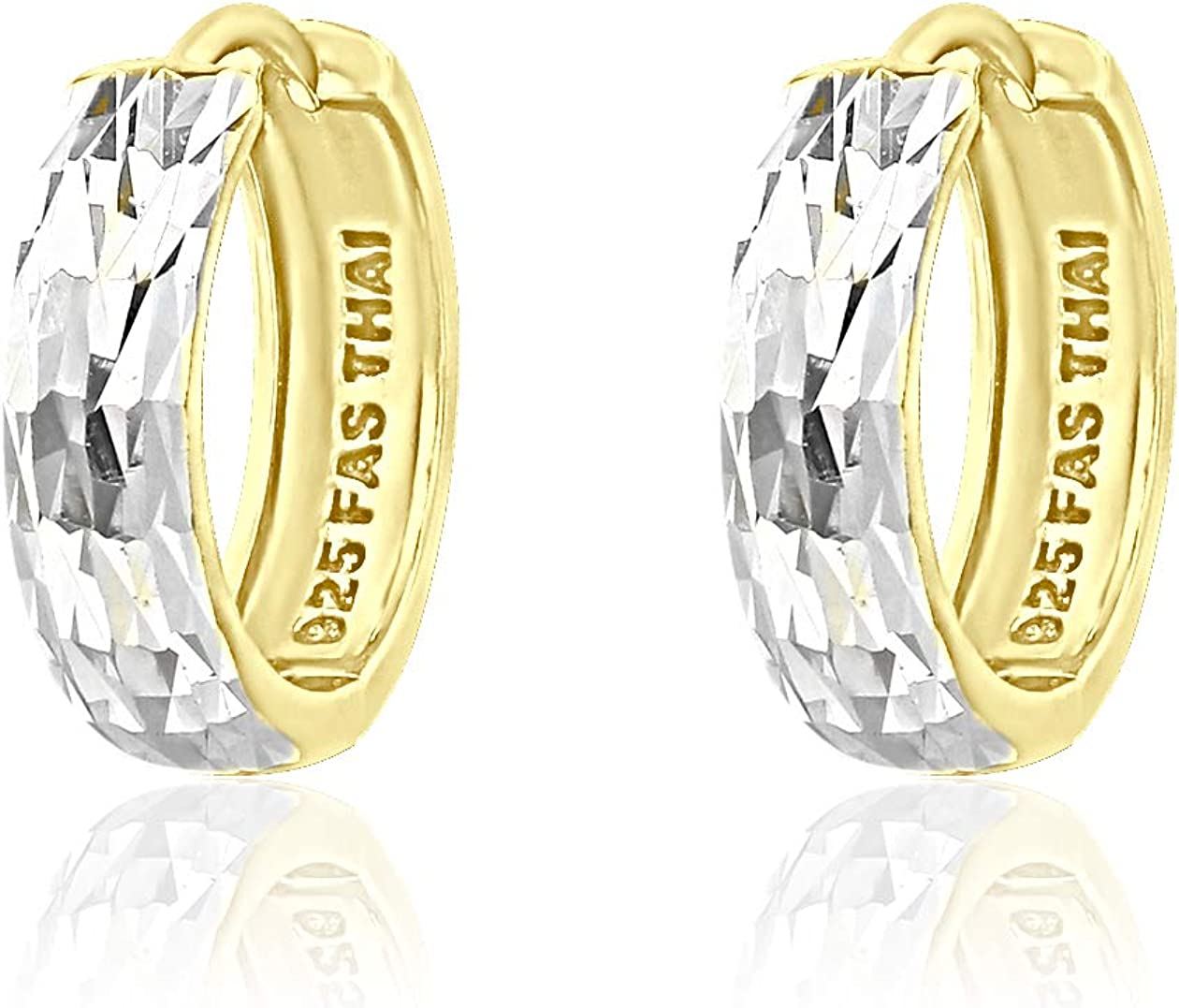 River Island Sterling Silver Diamond Cut and Polished Huggie Hoop Earrings |Available in Silver and Two Tone