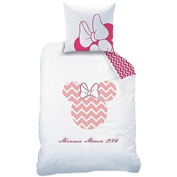 Disney 045071 Minnie Graphic Drap Housse pour Enfant Coton Blanc//Rose 190 x 90 cm CTI