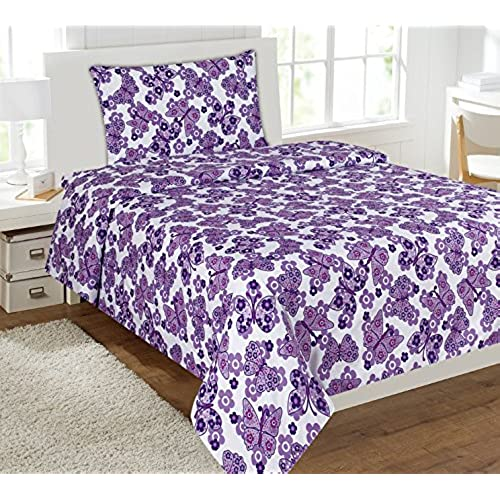 mk collection full size 4 pc sheet set purple white butterfly flower teensgirls new - Kids Full Sheets