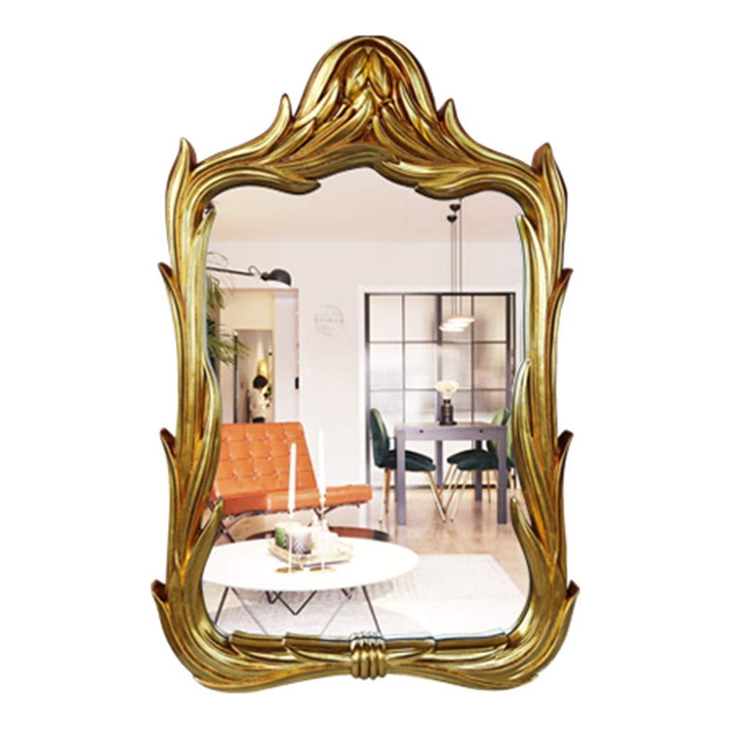 Kosmetikspiegel, Badezimmerspiegel, europäischer hängender Spiegel - dekorativer Spiegel - Badezimmerspiegel - Retro Windspiegel - PU-Rahmen wasserdicht und feuchtigkeitsfest -105  68cm