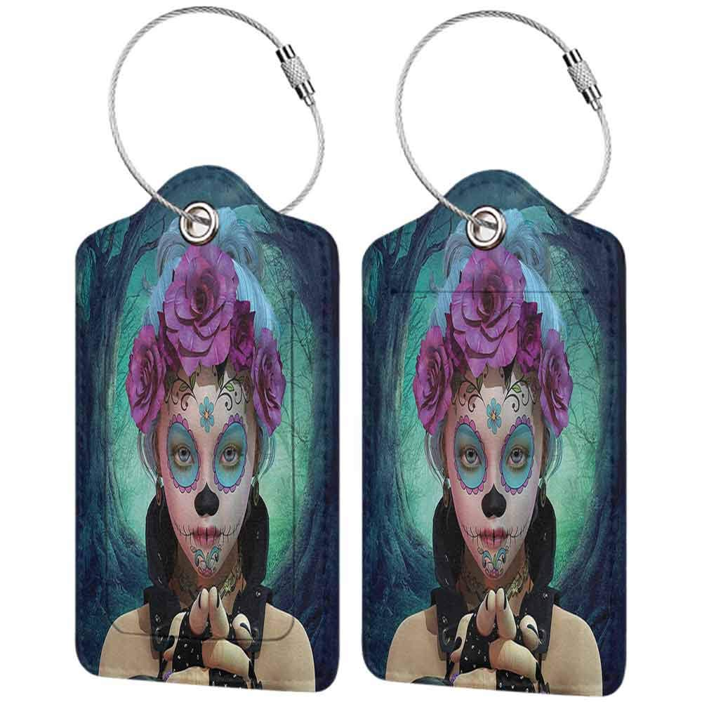 Small luggage tag Horror Scary Clown like Girls Showing her Hands with Gloves an Flowers in Her Head Print Quickly find the suitcase Multicolor W2.7 x L4.6