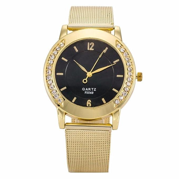 Amazon.com: yang-yi Moda Mujeres Crystal dorado Acero ...