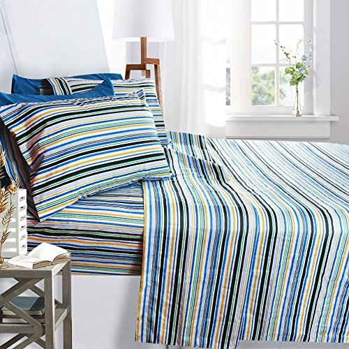 Printed Bed Sheet Set, Queen Size - Striped - By Clara Clark