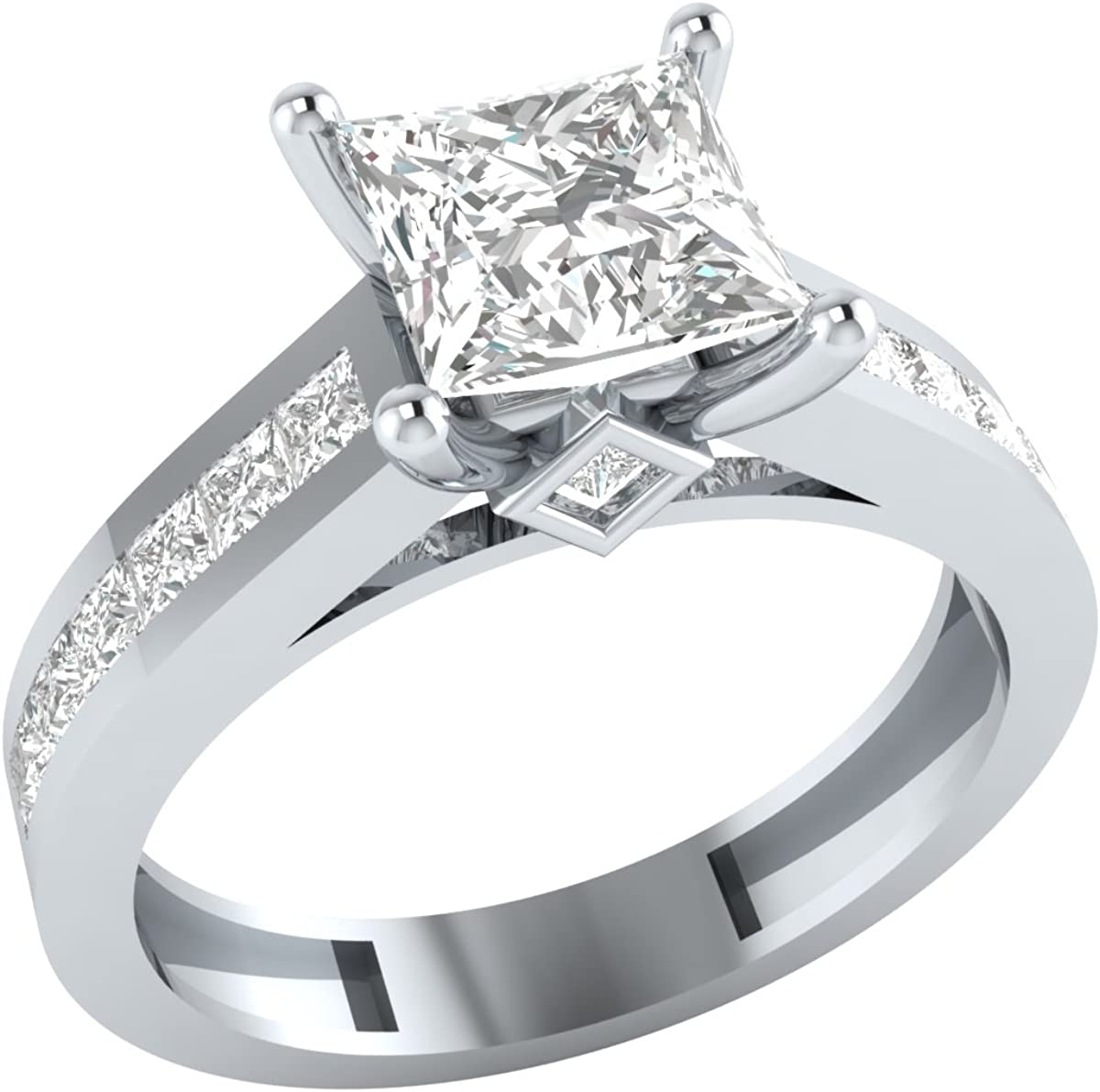 Amazon Com Demira Jewels Solid 10k White Gold Princess Cut Cubic Zirconia Solitaire Wedding Engagement Ring Jewelry