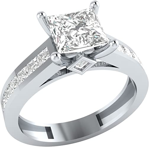 STERLING SILVER PRINCESS CUT 3 STONE VTG CZ ENGAGEMENT WEDDING RING SET-1.81 CT