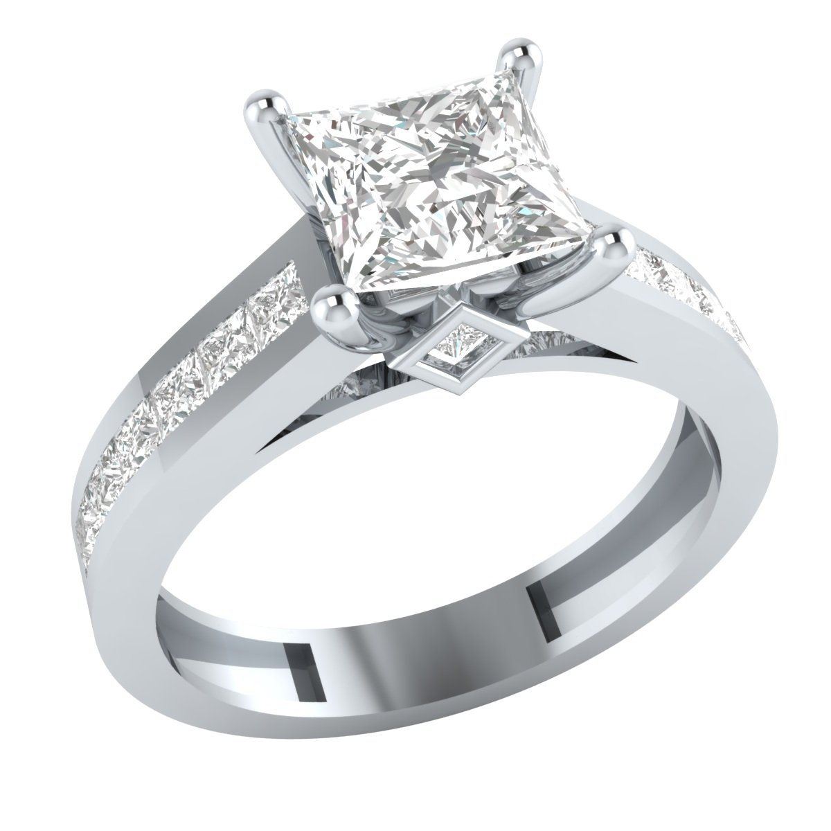 Solid 10k White Gold Princess Cut Cubic Zirconia Solitaire Wedding Engagement Ring