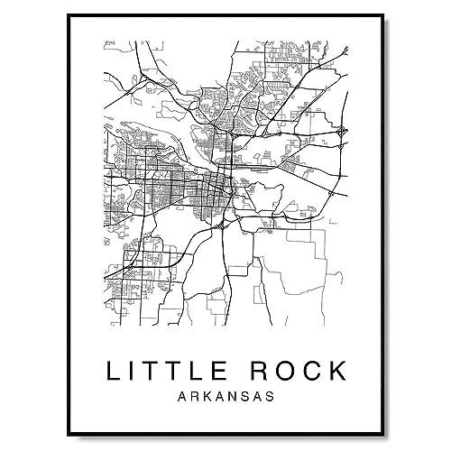 Amazon.com: Little Rock Map Wall Art Poster Print Arkansas ...
