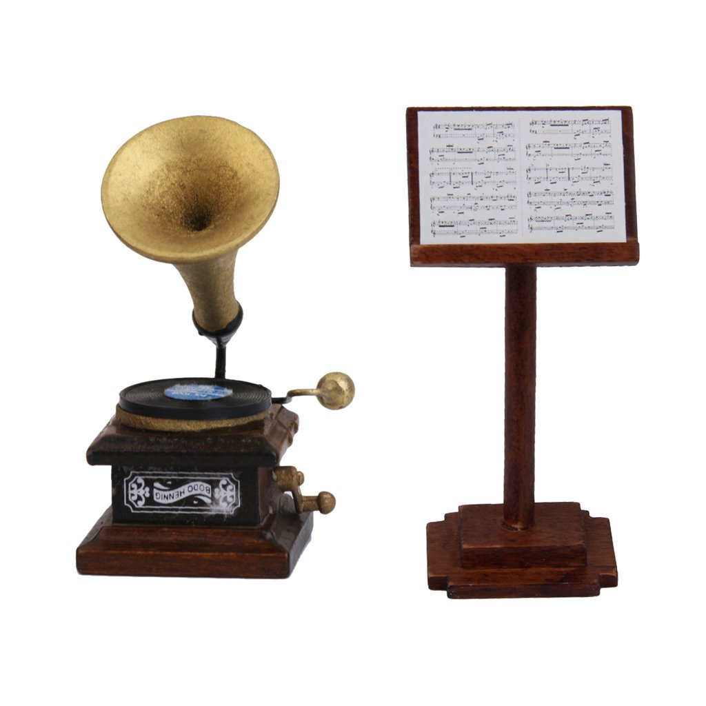 Baoblaze Excellent Workmanship Dollhouse Accessories Wooden Phonograph Record Player and Music Stand for 1/12 Dollhouse