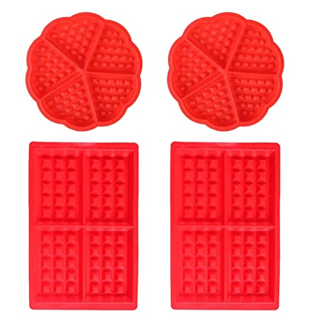 Moldes Waffles - WENTS Molde de Silicona para Waffle Anti Adherente Bandeja para Hornear Waffles Gofres Bandeja Moldes para Hornear Corazón y ...