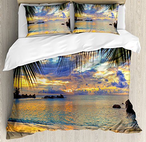 Coastal Decor Queen Size Duvet Cover Set by Ambesonne, Sunset at Beach Rumbling Ocean Luxurious Resort With Palm Trees Travel Locations Picture, Decorative 3 Piece Bedding Set with 2 Pillow Shams