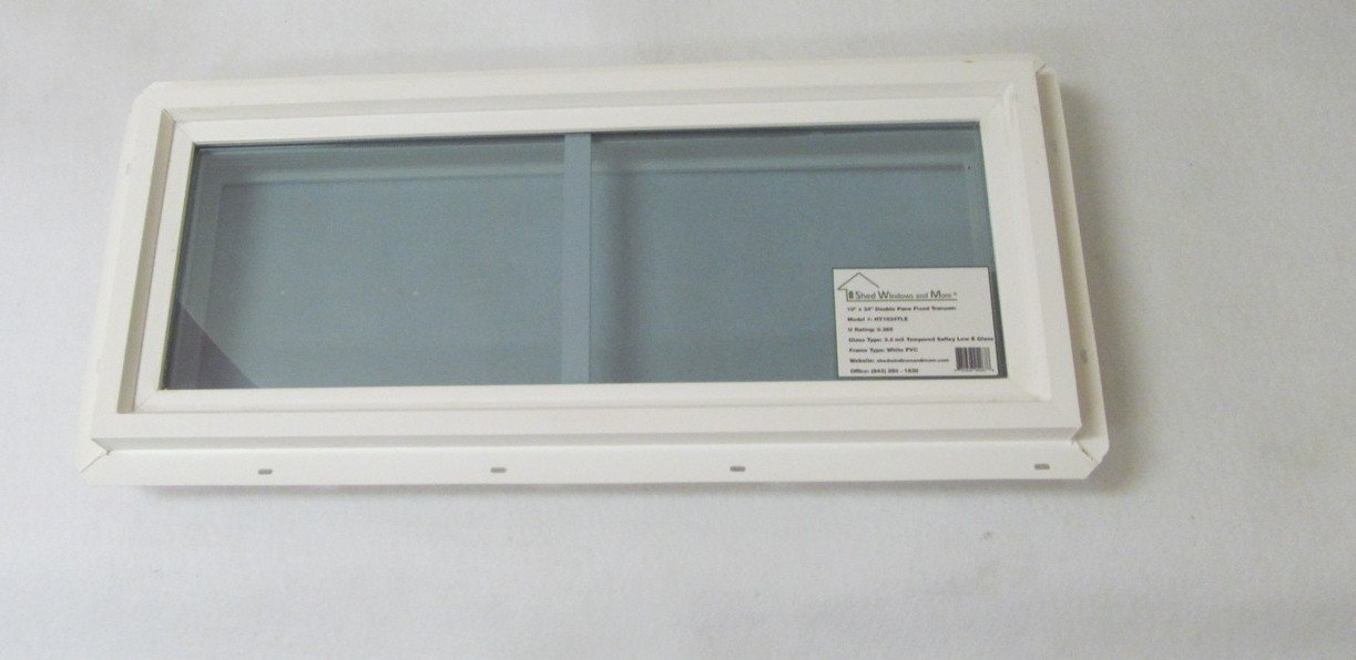 Transom Window 12'' x 24'' Double Pane Low E Tempered Glass With Grids