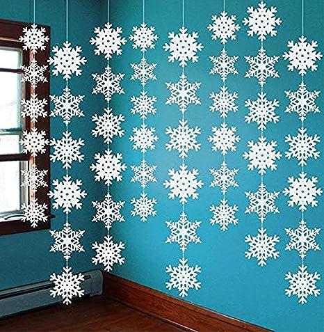 Abreome Guirnaldas De Copos De Nieve Para La Decoración Navideña Decoraciones Navideñas Caseras Para Fiestas De Navidad Colgadores De Nieve Blanco