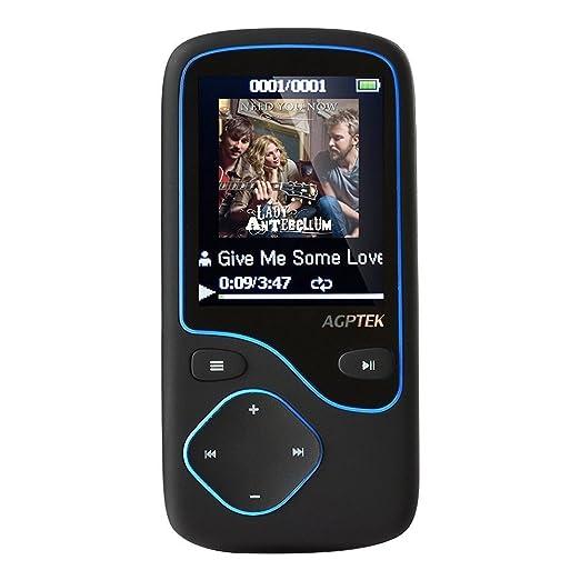 193 opinioni per Agptek C05 Lettore MP3 Bluetooth capacità di 8GB (sostegno Micro SD 64 GB), Blu