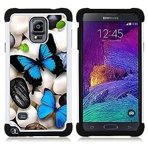 """Pulsar ( Mariposa de neón iridiscente Pebble Art Blue"""" ) Samsung Galaxy Note 4 IV / SM-N910 SM-N910 híbrida Heavy Duty Impact pesado deber de protección a los choques caso Carcasa de parachoques"""