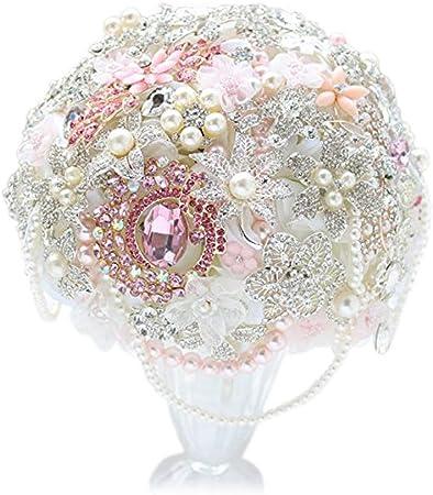 Amazon Com 8 Inch Pink Bridal Bouquet Diy Brooch Bouquet Pink