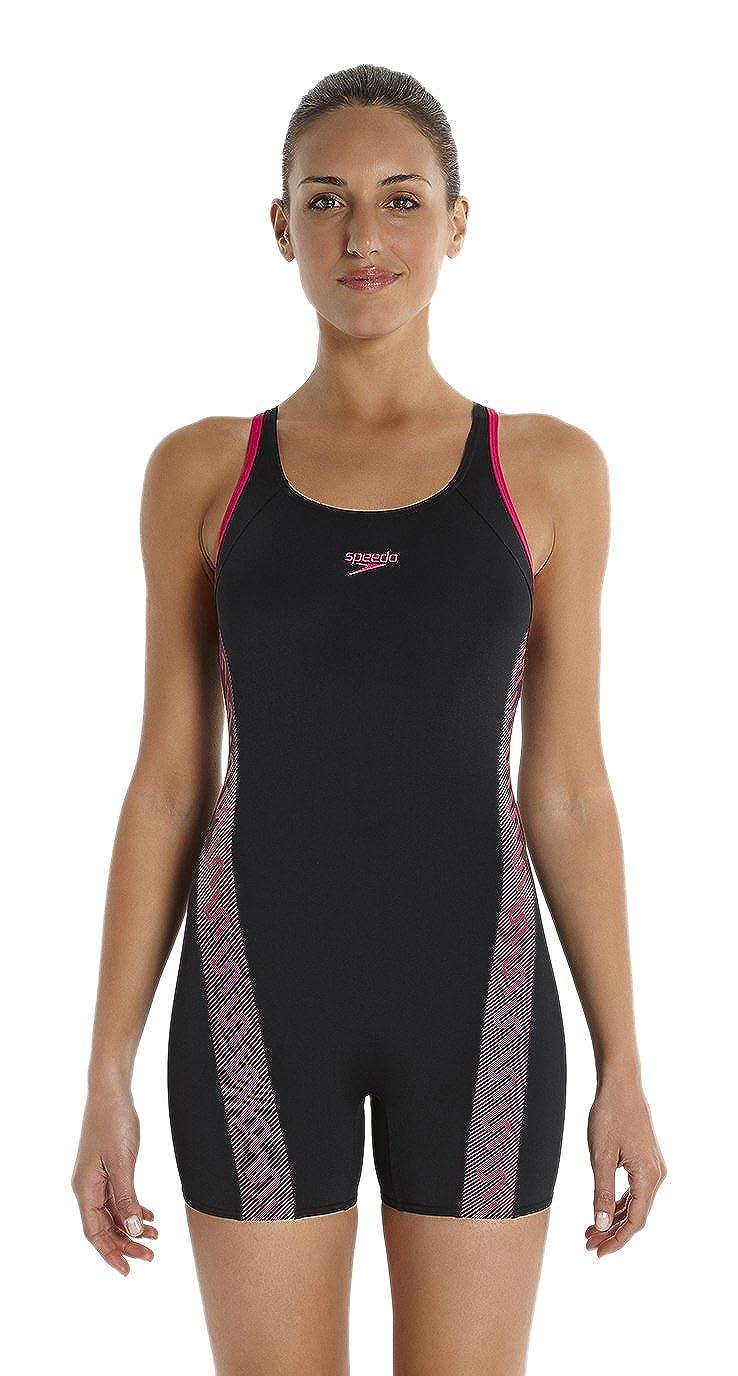 e194b39958 Speedo Legsuit Women's Monogram Leg Suit-Black/Magenta, Size 30:  Amazon.co.uk: Clothing