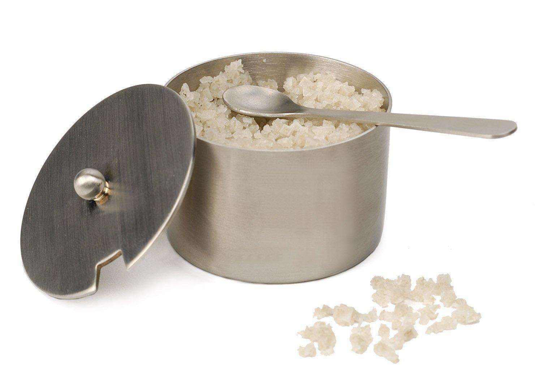 Amazon  Brushed Stainless Steel Salt Cellar With Spoon: Sugar Bowls:  Serveware