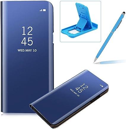 Coque iPhone 6S Clapet, Herzzer Housse Étui en PU Cuir Luxe Placage Technologie avec Transparente Miroir Design Dur PC Backcover Protector Fonction ...