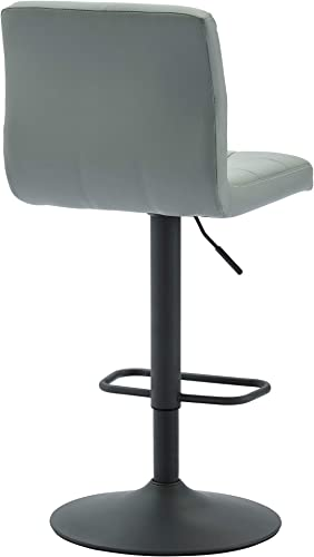 WHI , Grey Adjustable Height Bar Stool, Set of 2, Faux Leather