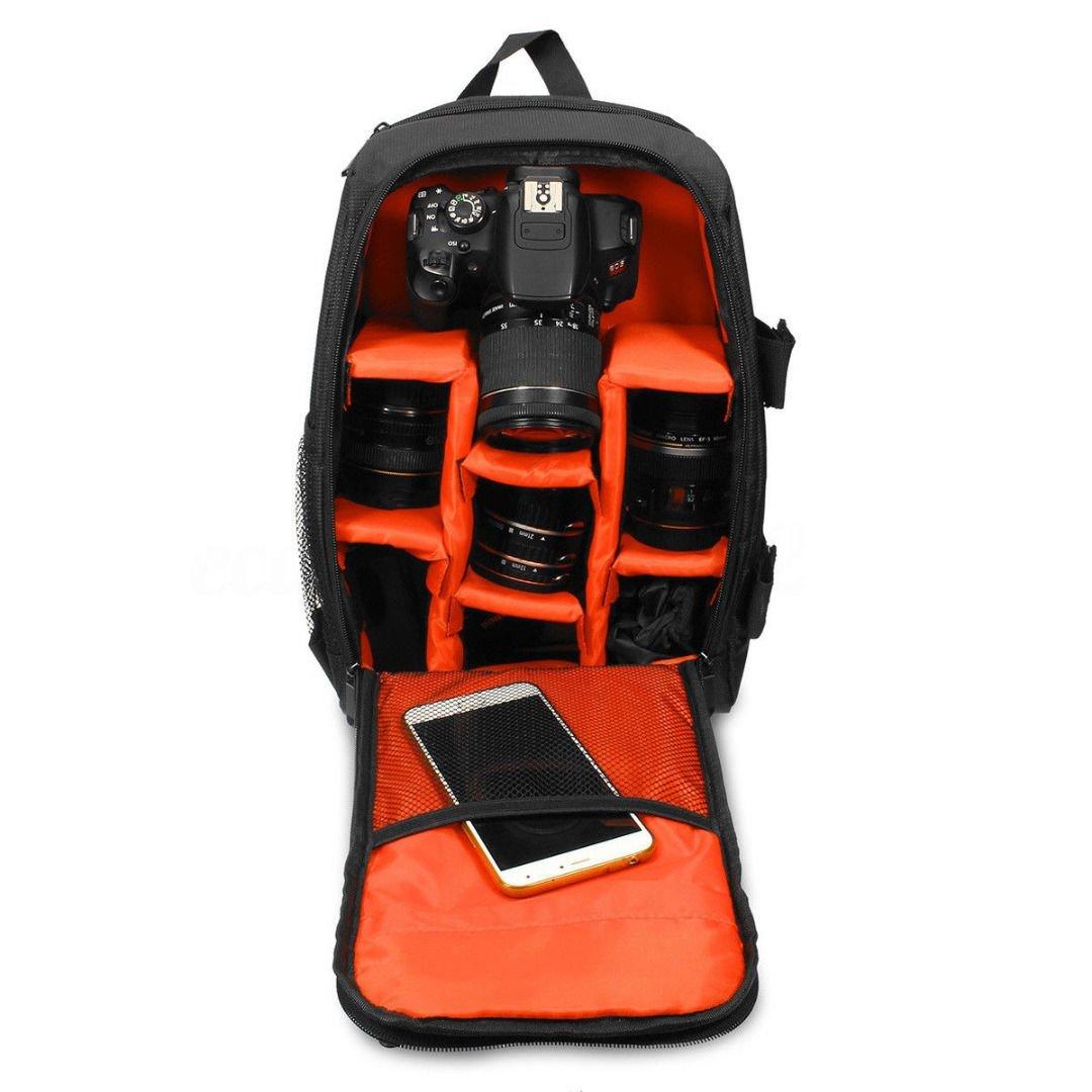 TOOGOOアップグレード防水多機能デジタルDSLRカメラビデオバッグwith雨カバーSLRカメラバッグPEパッド入りの写真家(オレンジ, Small) B07DR7C1TY
