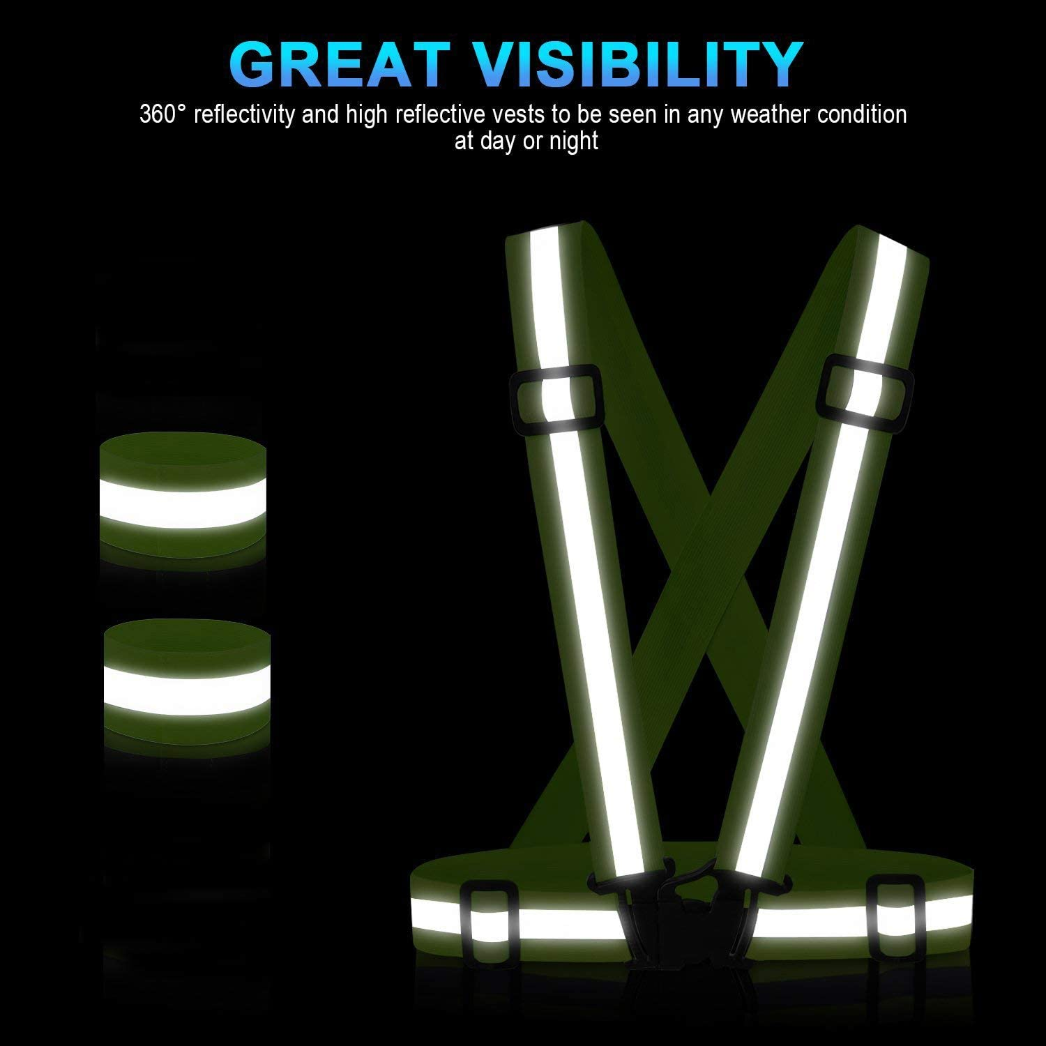 SAWNZC Reflective Vest Running Gear 2Pack, Adjustable Safety Vest Outdoor Reflective Belt High Visibility with 4 Reflective Wristbands Straps for Night Cycling Walking Jogging Motorcycle Dog Walking : Clothing