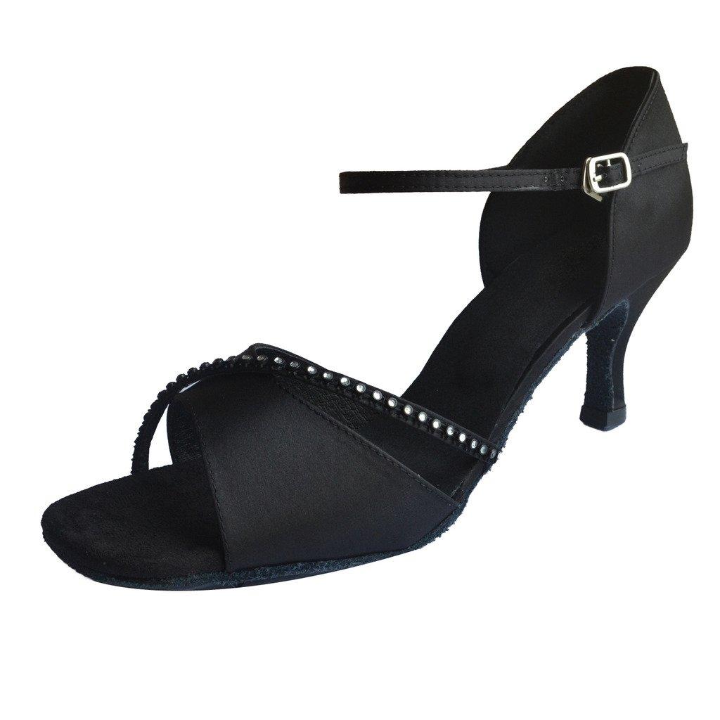 Jig Foo Sandales Open-Toe Latine Salsa Tango Chaussures de Danse de Piste de Danse pour Femme avec Talon 7cm - Noir - Noir, 41 EU