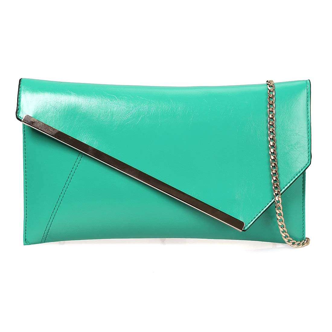 BMC Fashionably Chic Turquoise Faux Leather Gold Metal Accent Envelope Style Statement Clutch by b.m.c (Image #6)