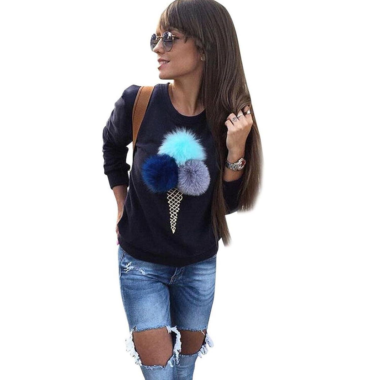 Muxika Fashion Women Loose Plush Ball Long Sleeve Causal Blouse Shirt Pullovers