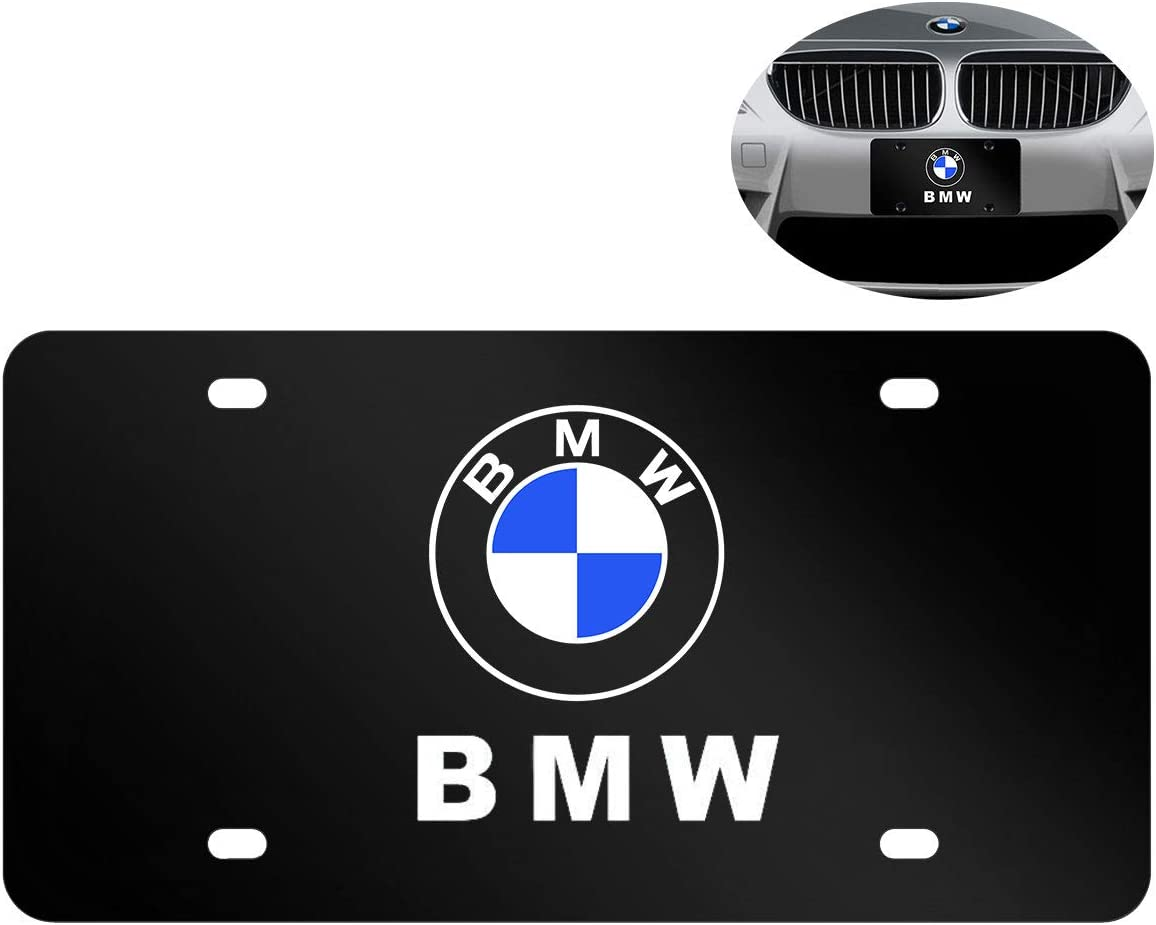 Carfun 2pcs for License Plate Frame,Black Matte Aluminum License Plate with Screw Caps fit A c u r a-Black Upscale Black License Plate Frame for Front and Rear License Plate
