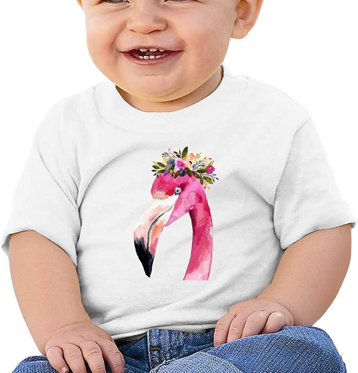 Flamingo with Flower Hat Toddler 100/% Cotton Short Sleeve Tees for Baby Girls