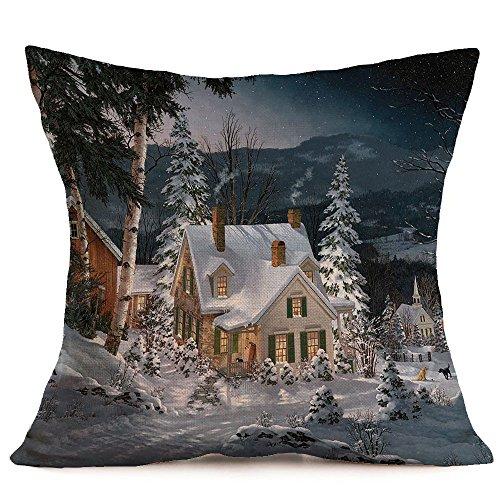 Merry Christmas Linen Pillow Cases Sofa Cushion Cover Square Cushion Car Sofa Home Office Decoration HunYUN ()