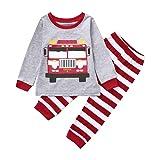 Kid Baby Boy Car Print Long Sleeves Top+Stripe
