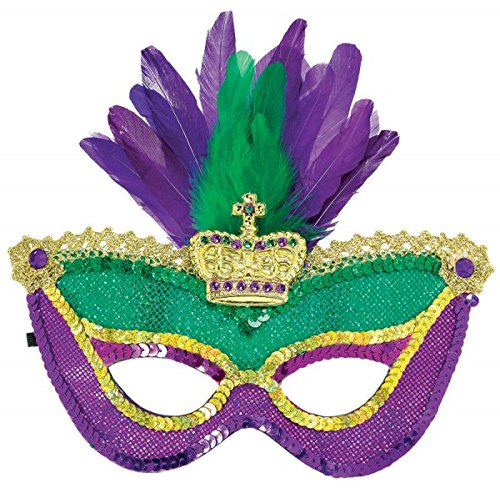 Mardi Gras Sequined Party Mask, 4