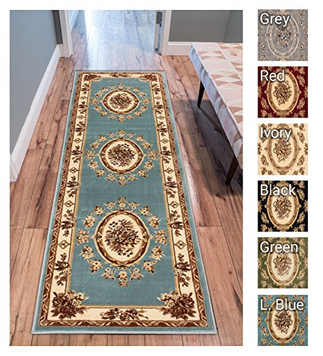 Entryway Traditional (Pastoral Medallion Light Blue French European Formal Traditional 2x7 (2'3