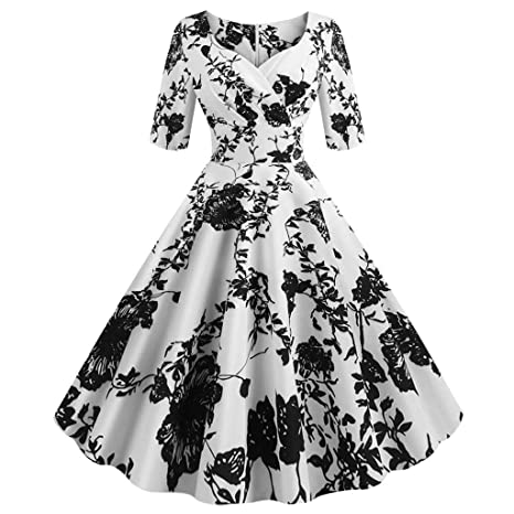 Womens Vintage 1950s Hepburn Fit and Flare A Line Night Dress