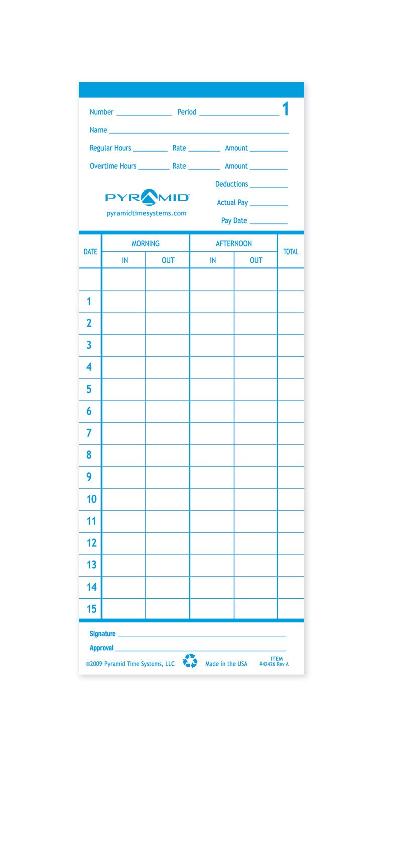 Pyramid 42426 Genuine Time Cards for 2400 and AT-2400 Time Clocks (Pack of 100)