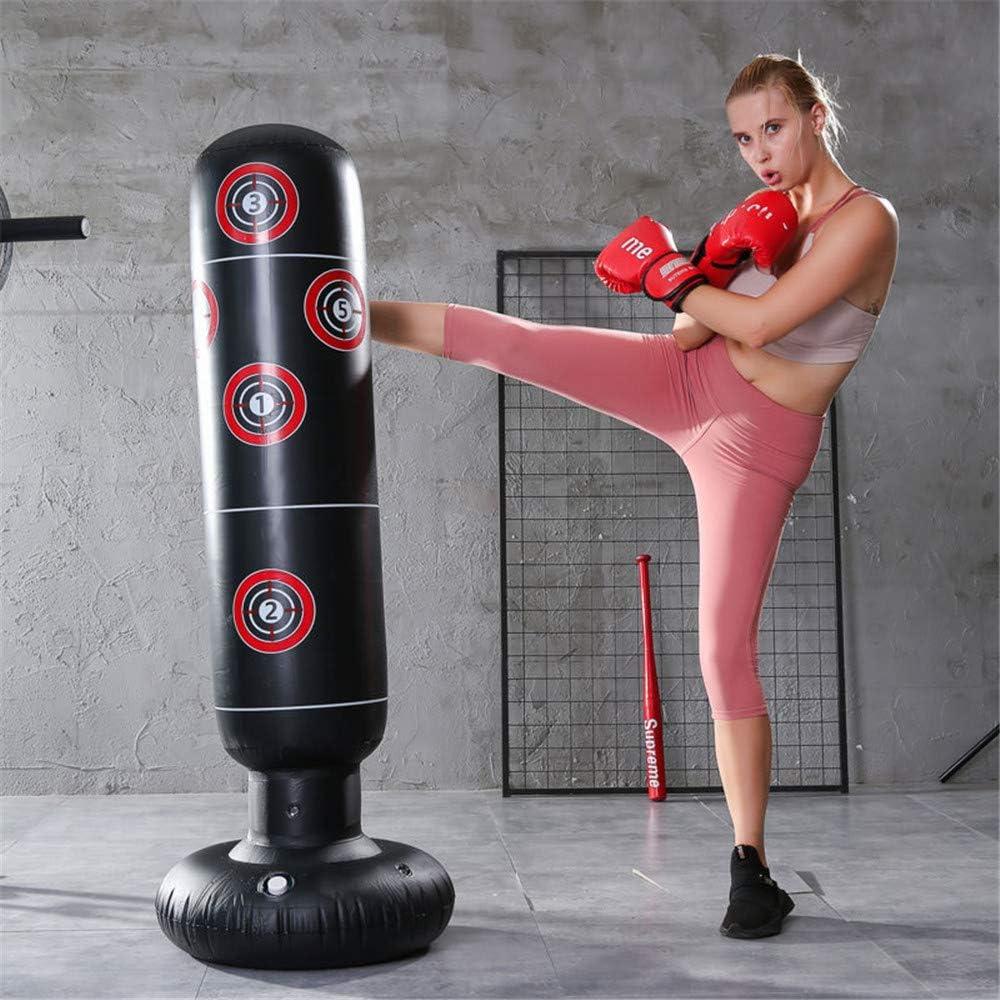 Amnixo Saco de boxeo hinchable pesado bolsa de entrenamiento con inflador de aire y bomba de pedal