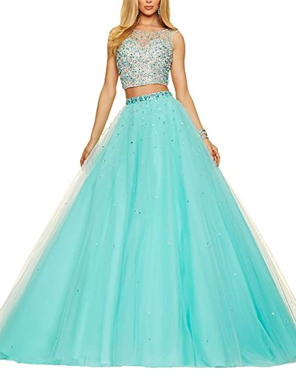 Fanciest Womens Ball Gowns Two Pieces Prom Dresses 2017 Quinceanera Dress Aqua US2