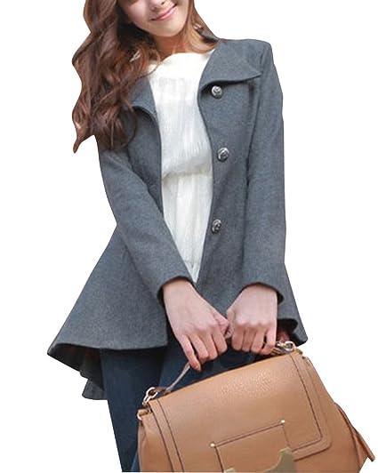 ZhuiKun Cola de Milano Abrigos Mujer Chaqueta de Elegante Abrigo Trench Jacket Outwear Gris XL: Amazon.es: Ropa y accesorios