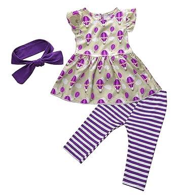 6540c47ea NUWFOR Newborn Kid Baby Girls Short Sleeve Print Tops+Stripe Pants Outfits  Set(Purple