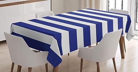Imagen deABAKUHAUS Rayado Mantele, Estilo Náutico Azul Marino y Blanco Tema Marinero Patrón Geométrico Arte Estampa, Resistente al Agua Lavable Colores No Destiñen Personalizado, 140 x 200 cm, Púrpura