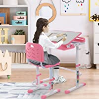 Height Adjustable Study Desk and Chair Set, Kids Desk Children Writing Student Desk Drafting Table Pull Out Drawer with Tilted Desktop (Grey, US Direct) (Pink, US Direct)